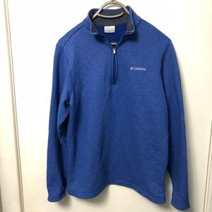COLUMBIA Blue Thermal 1/4 Zip Jacket Small